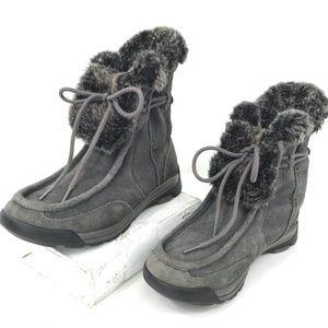 Lands End Suede Faux Fur Lined Snow Boots